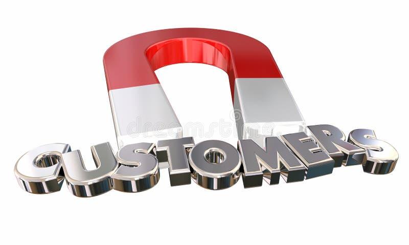 Magneten tilldrar nya kunder kommer med i fyndklientbokstäver 3d Il royaltyfri illustrationer