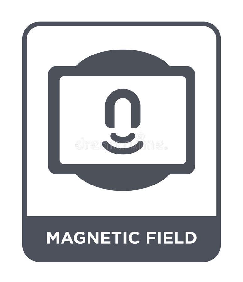 magnetfältsymbol i moderiktig designstil magnetfältsymbol som isoleras på vit bakgrund enkel magnetfältvektorsymbol royaltyfri illustrationer