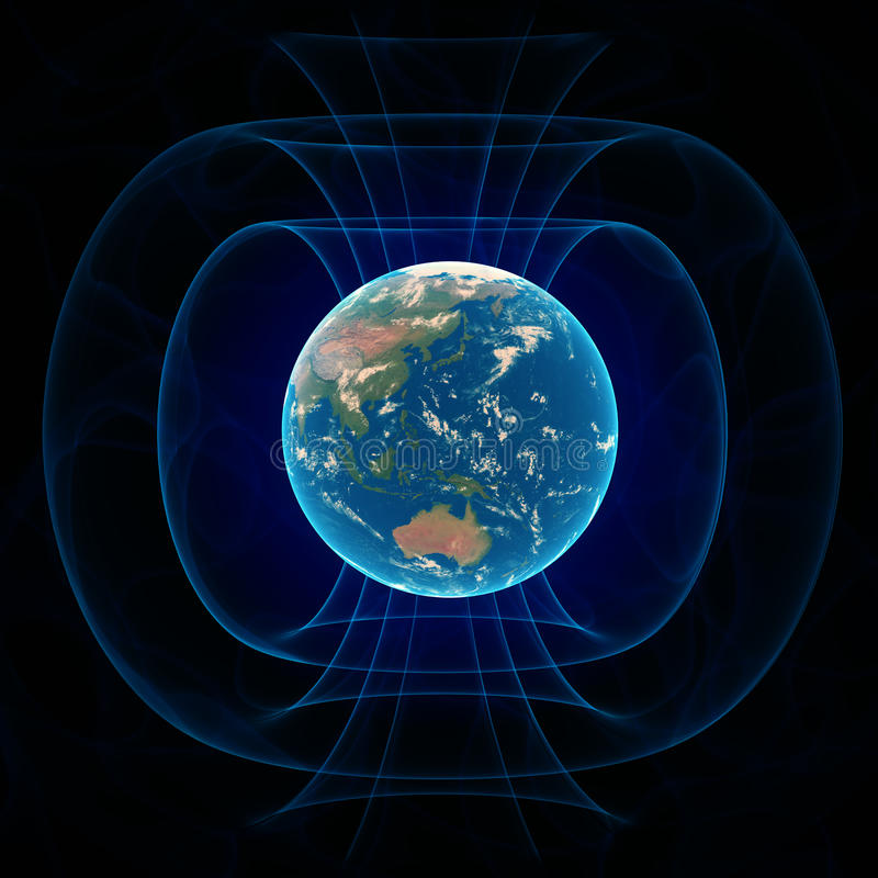Magnetfeld der Erde stock abbildung