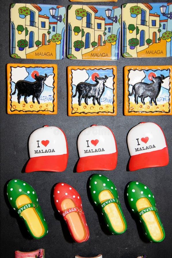 Magneti del frigorifero, Malaga, Spagna fotografie stock
