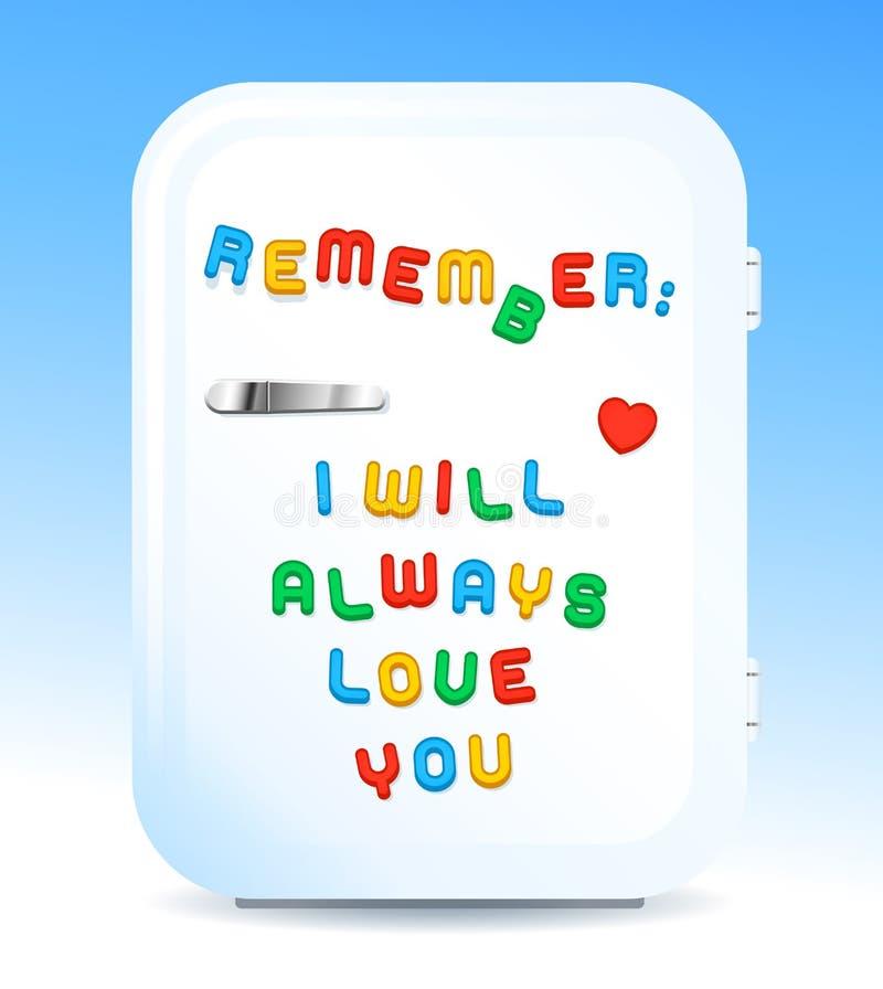 Magneti della lettera di promessa di amore sul concetto del frigorifero illustrazione vettoriale