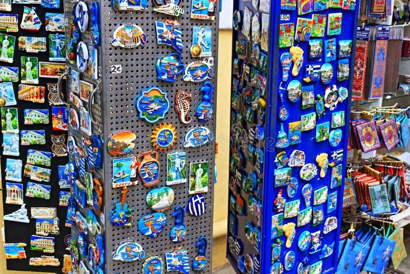 Magneti turistici Grecia dell'isola di Corfù fotografia stock libera da diritti