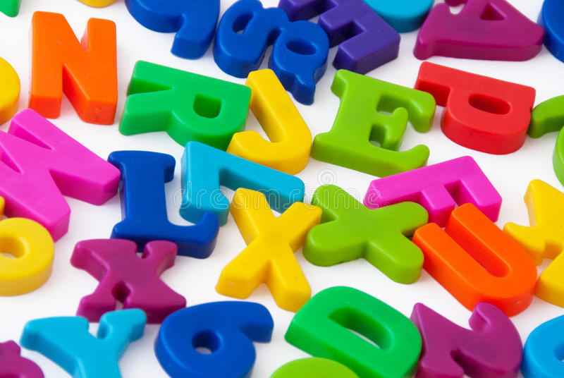 Magnetic alphabet letters stock image