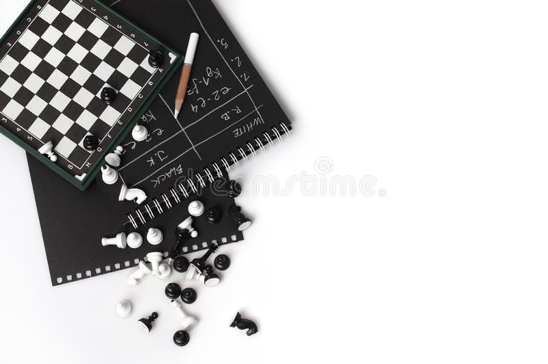 Magnetic chessboard and chess. On white background stock image
