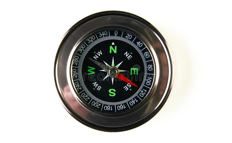 Magnetic compass isolated on white background with copy space royalty free stock photo