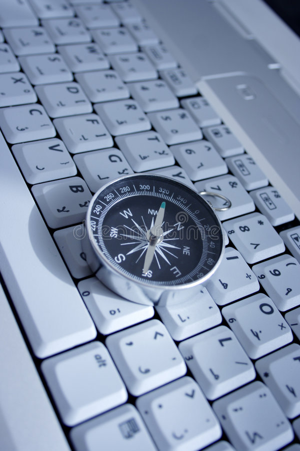 Magnetic compass on a laptop. Business travel concept royalty free stock photo