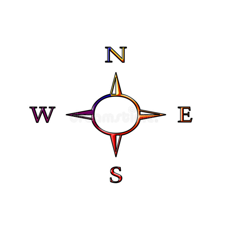 Compass symbol. The magnetic compass is navigational istrument and oriental for nature stock illustration