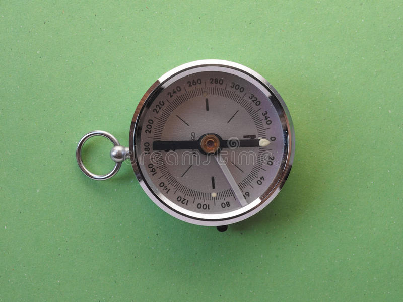 Magnetic compass tool. Compass aka Gyrocompass device for finding direction consisting of a magnetized needle that swings freely on a pivot and points to royalty free stock photography