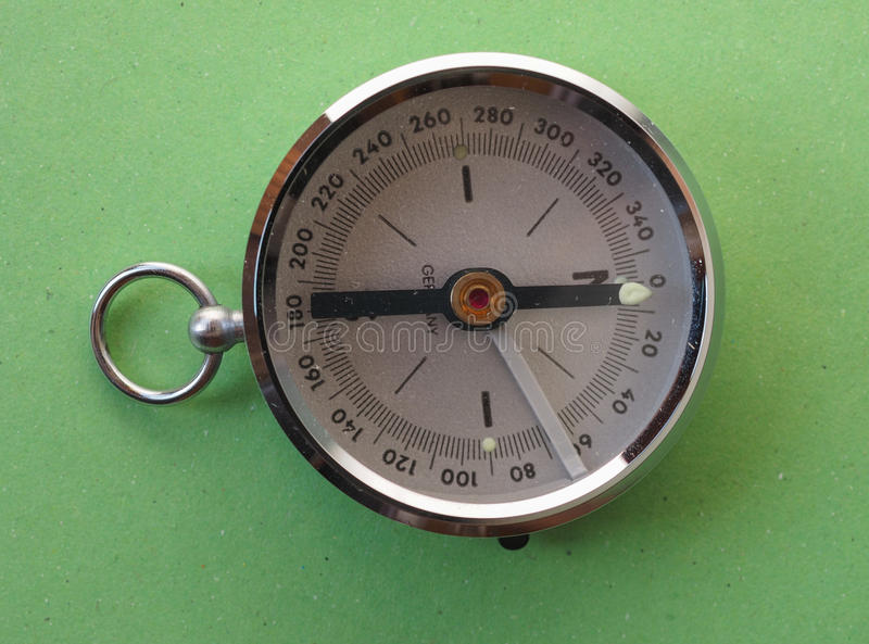 Magnetic compass tool. Compass aka Gyrocompass device for finding direction consisting of a magnetized needle that swings freely on a pivot and points to stock photography