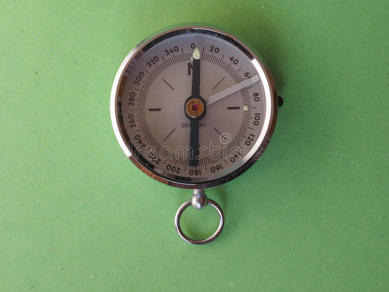 Magnetic compass tool. Compass aka Gyrocompass device for finding direction consisting of a magnetized needle that swings freely on a pivot and points to stock photos