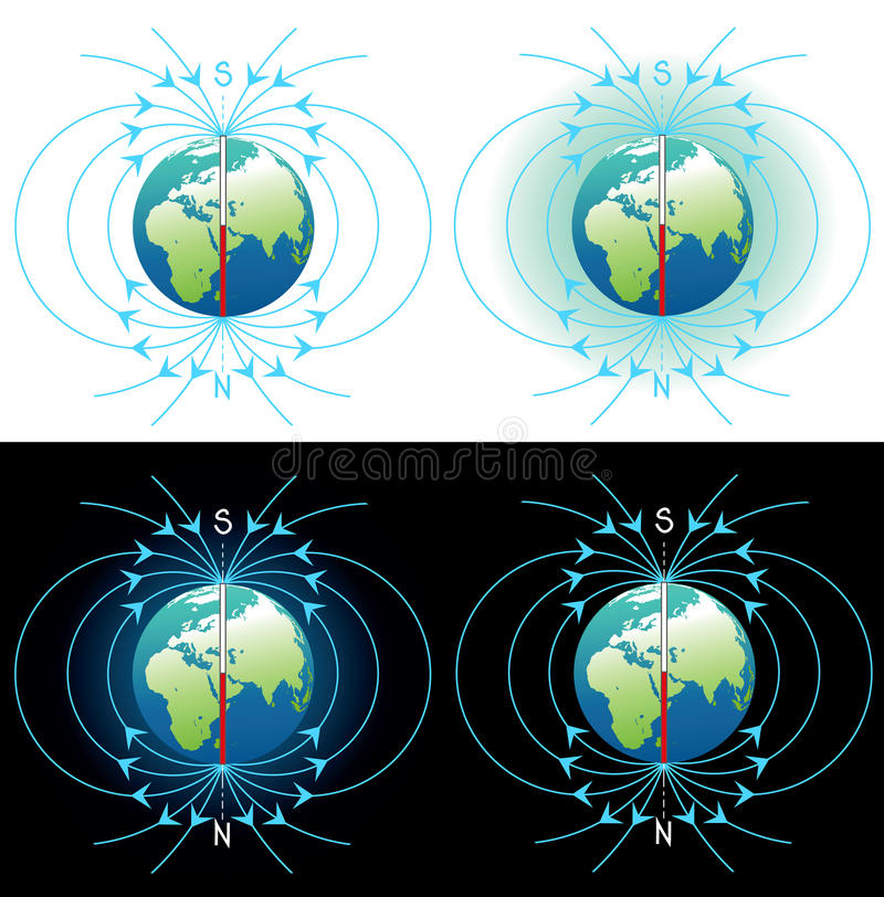 Magnetic field of Earth. Magnetic field images collection royalty free illustration