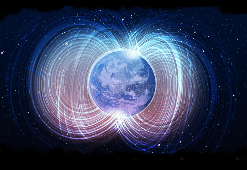 Magnetic field of earth. Astrophysics, Magnetic field of earth vector illustration