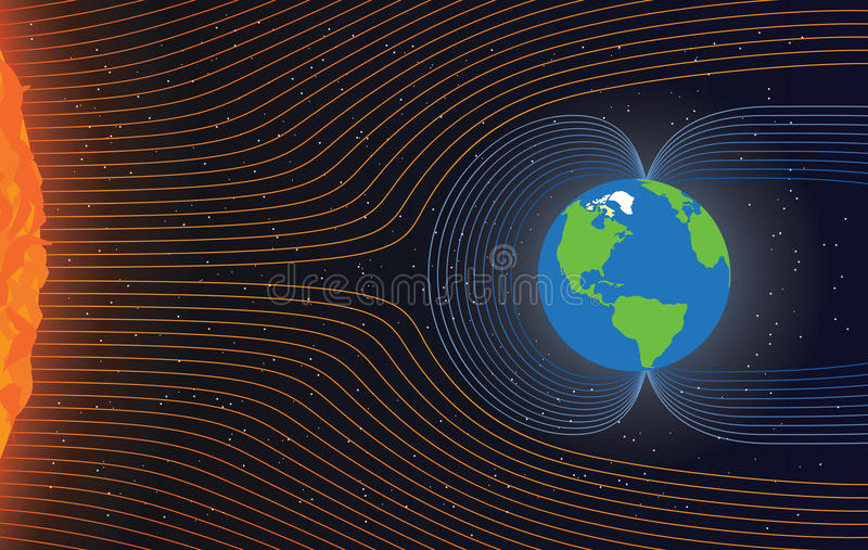 Magnetic field of Earth stock illustration