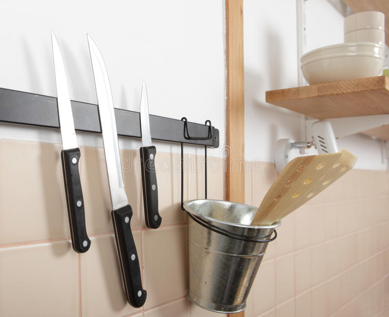 Magnetic knife rack royalty free stock photo