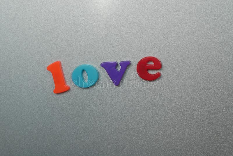 Magnetic letters love stock photography