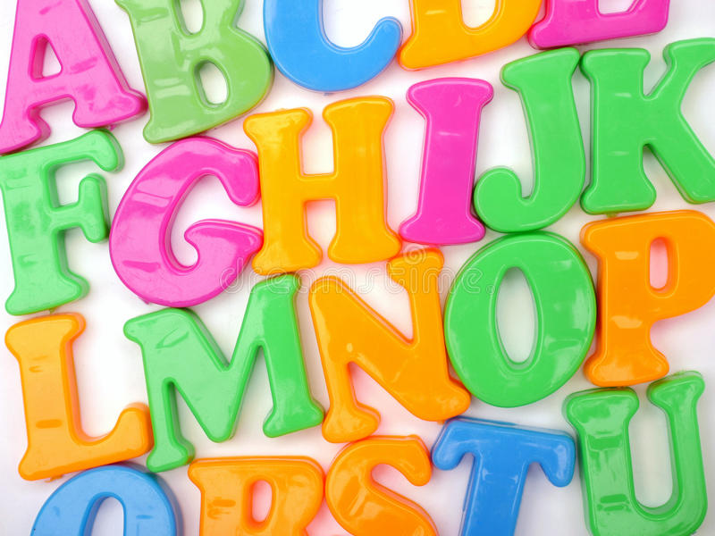 Magnetic plastic ABC letters royalty free stock image