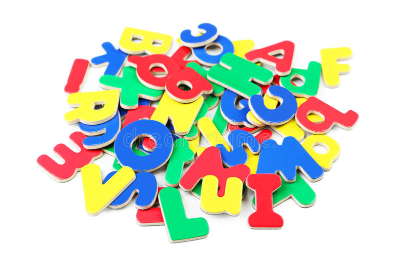 Magnetic plastic letters stock photos