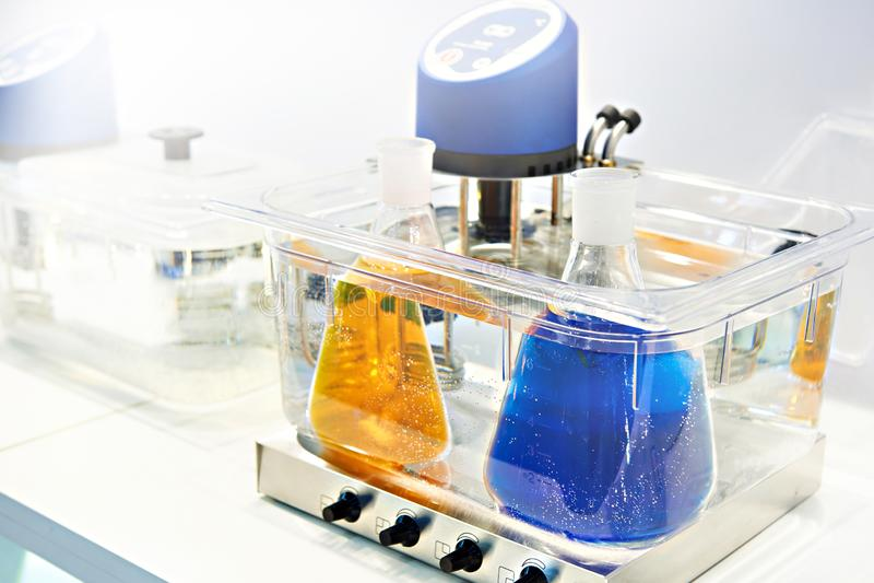 Magnetic stirrer on lab. Magnetic stirrer on chemical lab stock images