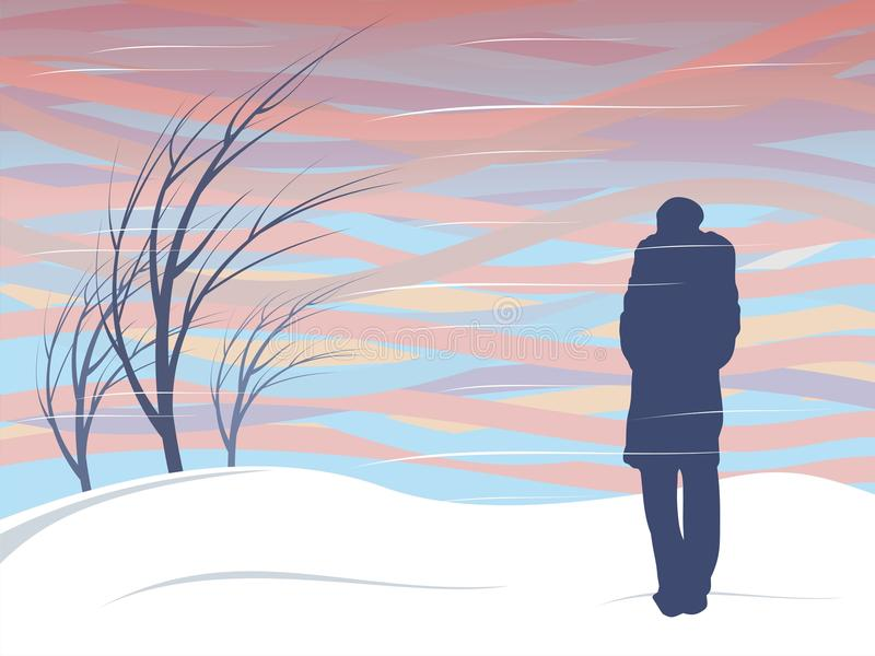 Magnetic storm. Girl in feather bed looking at a magnetic storm in the sky vector illustration