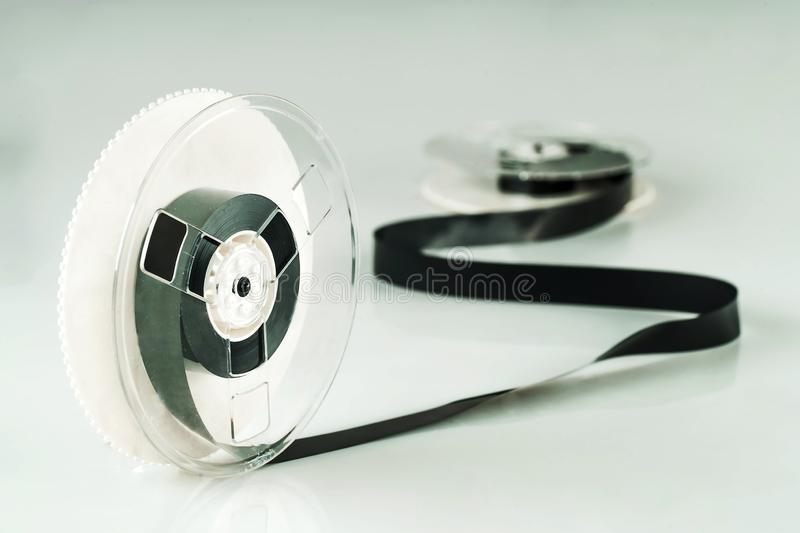Magnetic tape wound on reels stock image