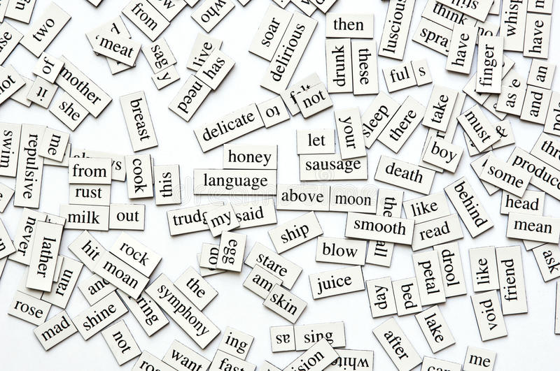 Magnetic Words. Random collection of different words and word-forms on magnetic tiles