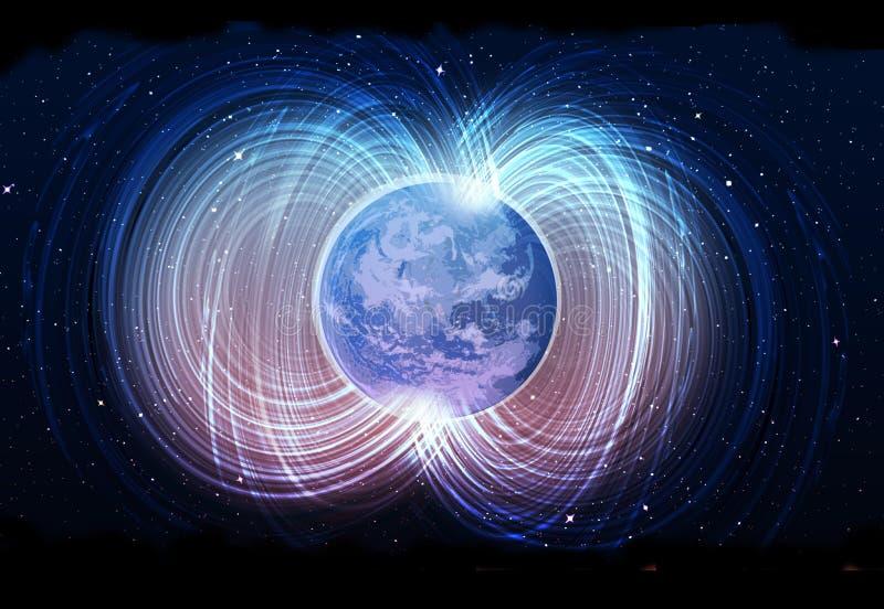 Magnetisch veld van Aarde vector illustratie