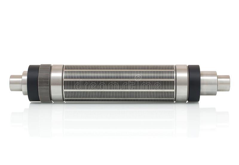 Magnetisk cylinder för stansat på roterande tryckpress som isoleras på vit bakgrund med skuggareflexion arkivbild