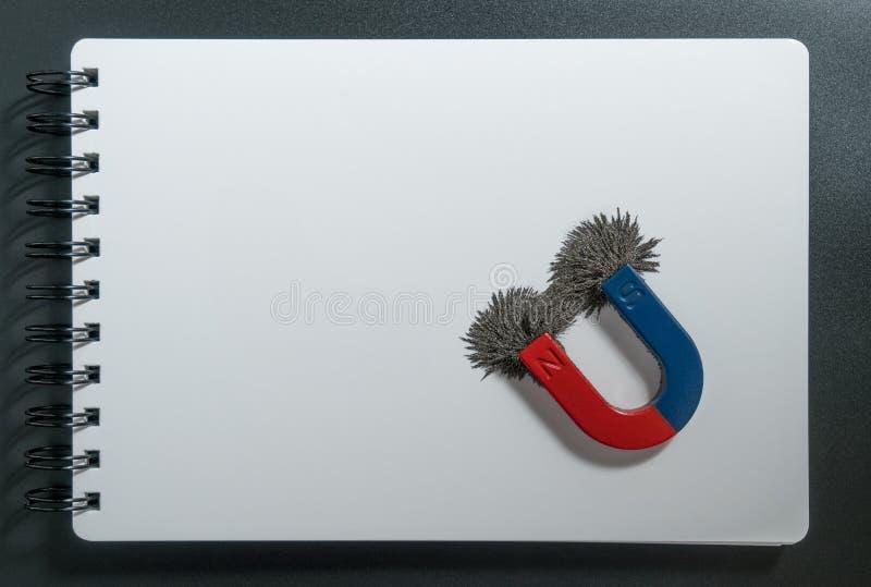 Magnetiska röd och blå magnet eller fysik och kompass för hästsko med järnpulvermagnetfältet på vitbokanteckningsbokbakgrund royaltyfria bilder