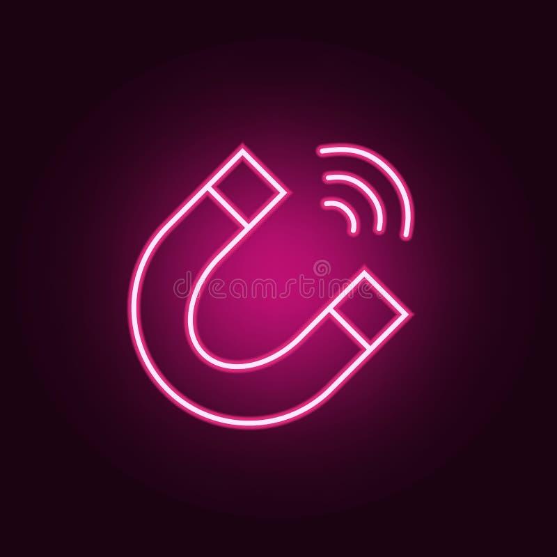 magnetneonsymbol Best?ndsdelar av den Sciense upps?ttningen Enkel symbol f?r websites, reng?ringsdukdesign, mobil app, informatio vektor illustrationer