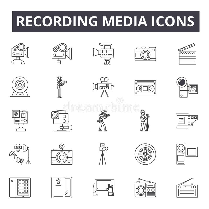 Magnetofonowych środków kreskowe ikony, znaki, wektoru set, liniowy pojęcie, kontur ilustracja ilustracja wektor