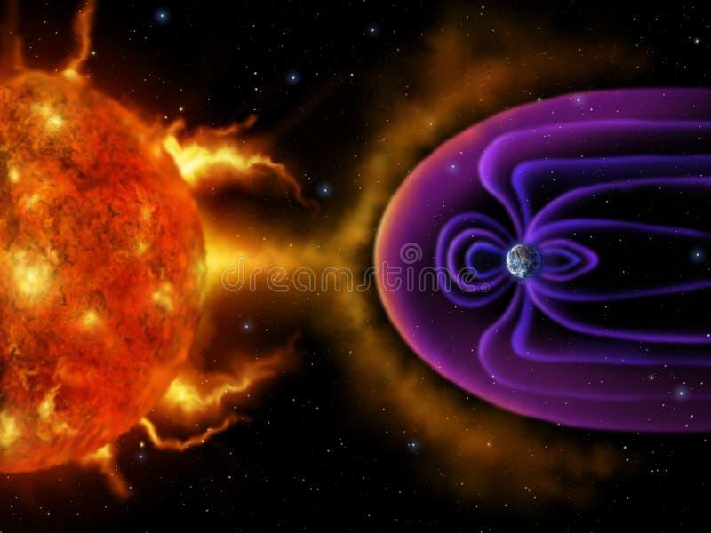 Magnetosfera da terra - pintura de Digitas ilustração do vetor