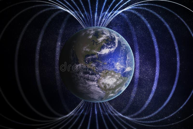Magnetosfera ou campo magnético em torno da terra 3D rendeu a ilustração ilustração stock