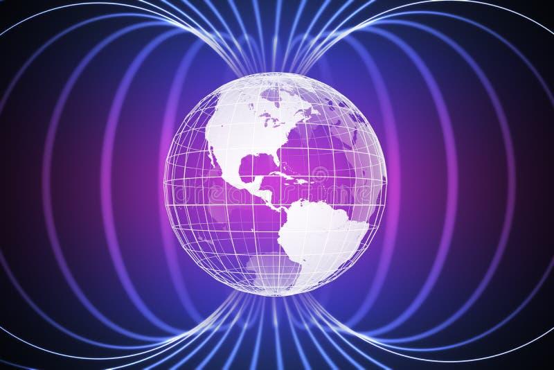 Magnetosfera ou campo magnético em torno da terra 3D rendeu a ilustração ilustração royalty free