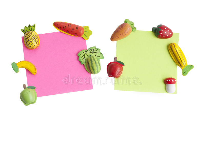 Magnets shaped. And colored notepaper stock photos