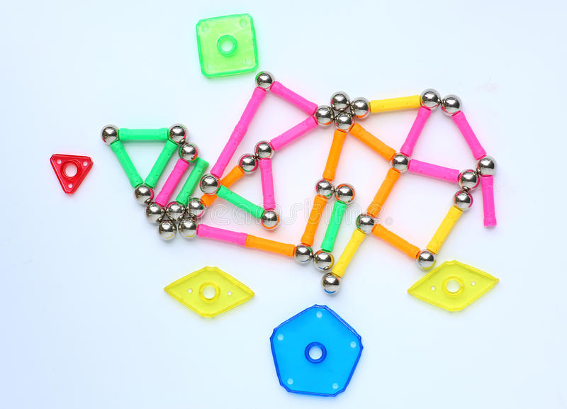 Magnets toy for child brain development. On white background stock images