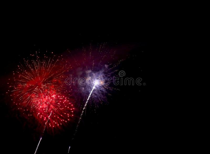magnificent artificial fireworks at night royalty free stock photo