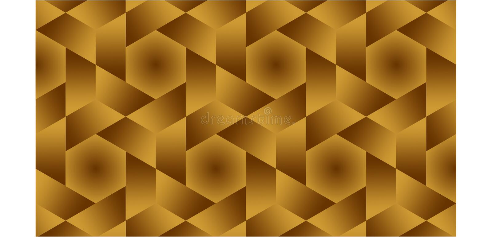 Background for half hexagonal,hexagonal and triangles are golden shaped group consisting of gold and brown, abstract geometric pat royalty free stock photography