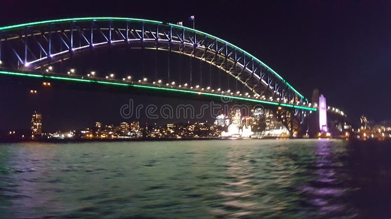 Sydney Harbour Bridge by night, Sydney, NSW, Australia. Sydney Harbour Bridge by night, Sydney, NSW,. Magnificent, beautiful, awe, inspiring, colourful royalty free stock photos