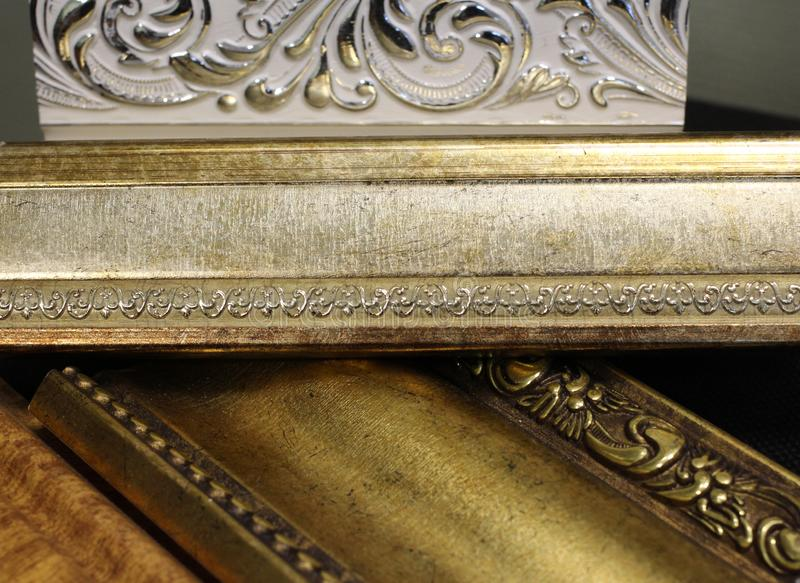 Magnificent beautiful cornices for interior decorative elements stock images