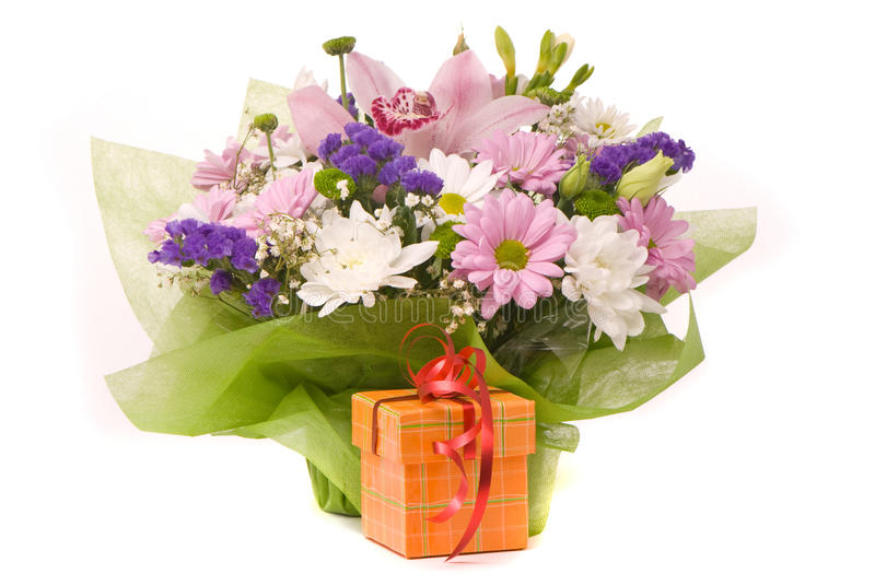 Magnificent bouquet and present box royalty free stock image
