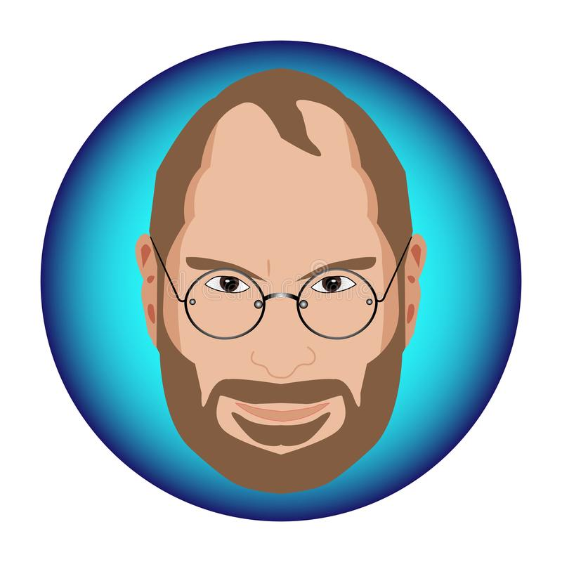 Magnificent caricature design for Steve Jobs in a blue circle royalty free illustration