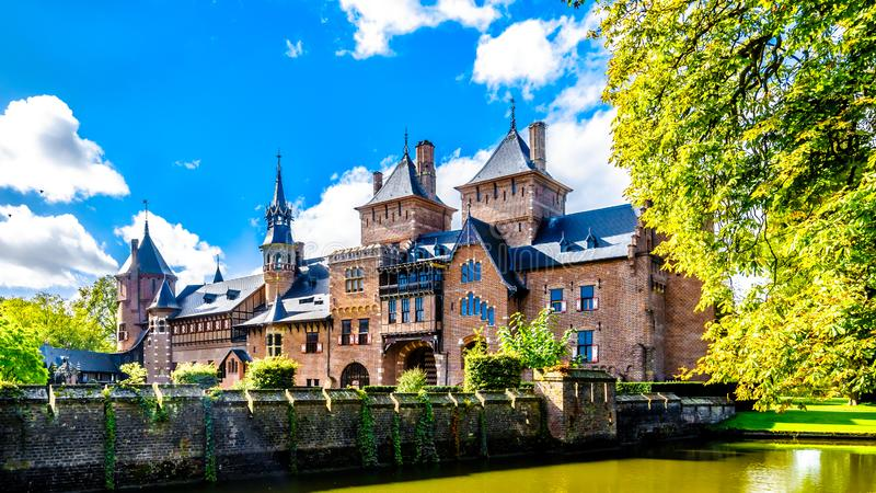 Magnificent Castle De Haar surrounded by a Moat and Beautiful Gardens. A 14th century Castle and restored in the late 19th century royalty free stock photography