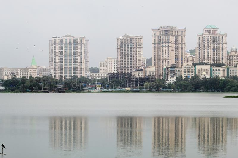 Magnificent City Skyline, Powai Lake and greenery shot during the monsoons in Mumbai, India.  stock images