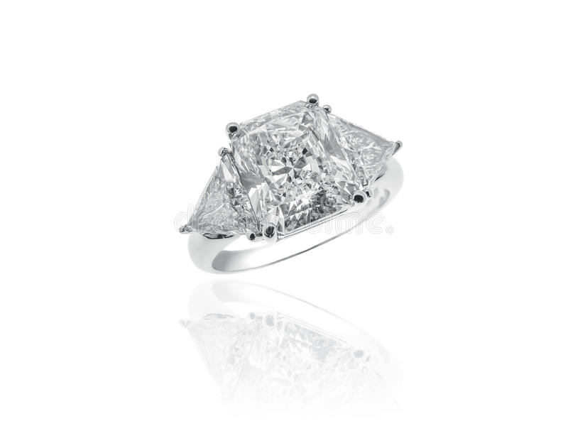 Magnificent Diamonds Solitaire Jewelry Ring stock image