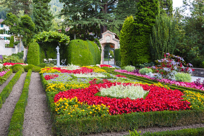The magnificent garden of the Castle of Oberhofen royalty free stock photos