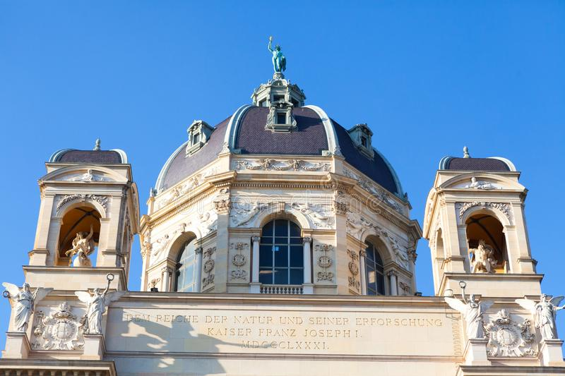 Dome of the Museum of natural history in Vienna. Magnificent and glorious dome of the Museum of Natural History. Naturhistorisches Museum, Wien. Emperor Franz I royalty free stock photos