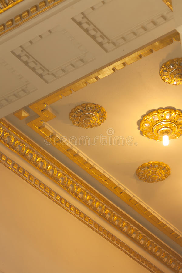 Magnificent gold ceiling architecture stock photo