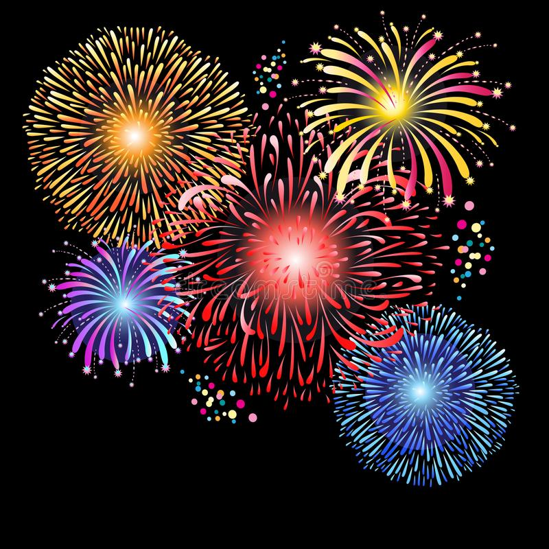 Magnificent graphics of multi-colored fireworks. On a dark background vector illustration