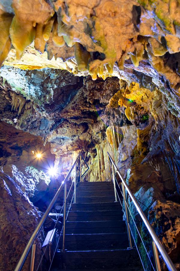 The magnificent and majestic caves of Diros in Greece. A spectacular sight of stalacites and stalagmites. The magnificent and majestic caves of Diros in Greece stock photography
