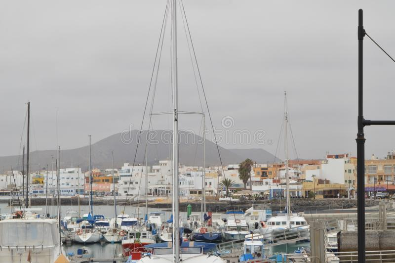 Magnificent Marina Full Of Expensive Boats In Corralejo. stock photo